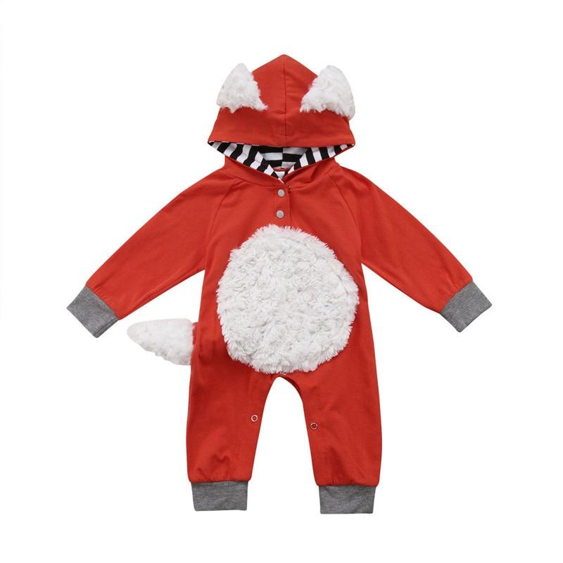 Neugeborenen Baby Junge Mädchen Kid Fuchs Strampler Overall Kleidung Outfit Kostüm Baby Kleidung Baumwolle Mit Kapuze Strampler Langarm Strampler