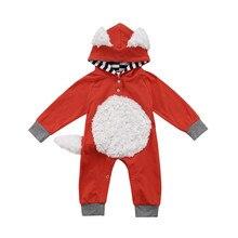 Новорожденных Для маленьких мальчиков девочек Фокс ползунки комбинезон, комплект одежды костюм детская одежда хлопок комбинезон с капюшоном комбинезон с длинными рукавами