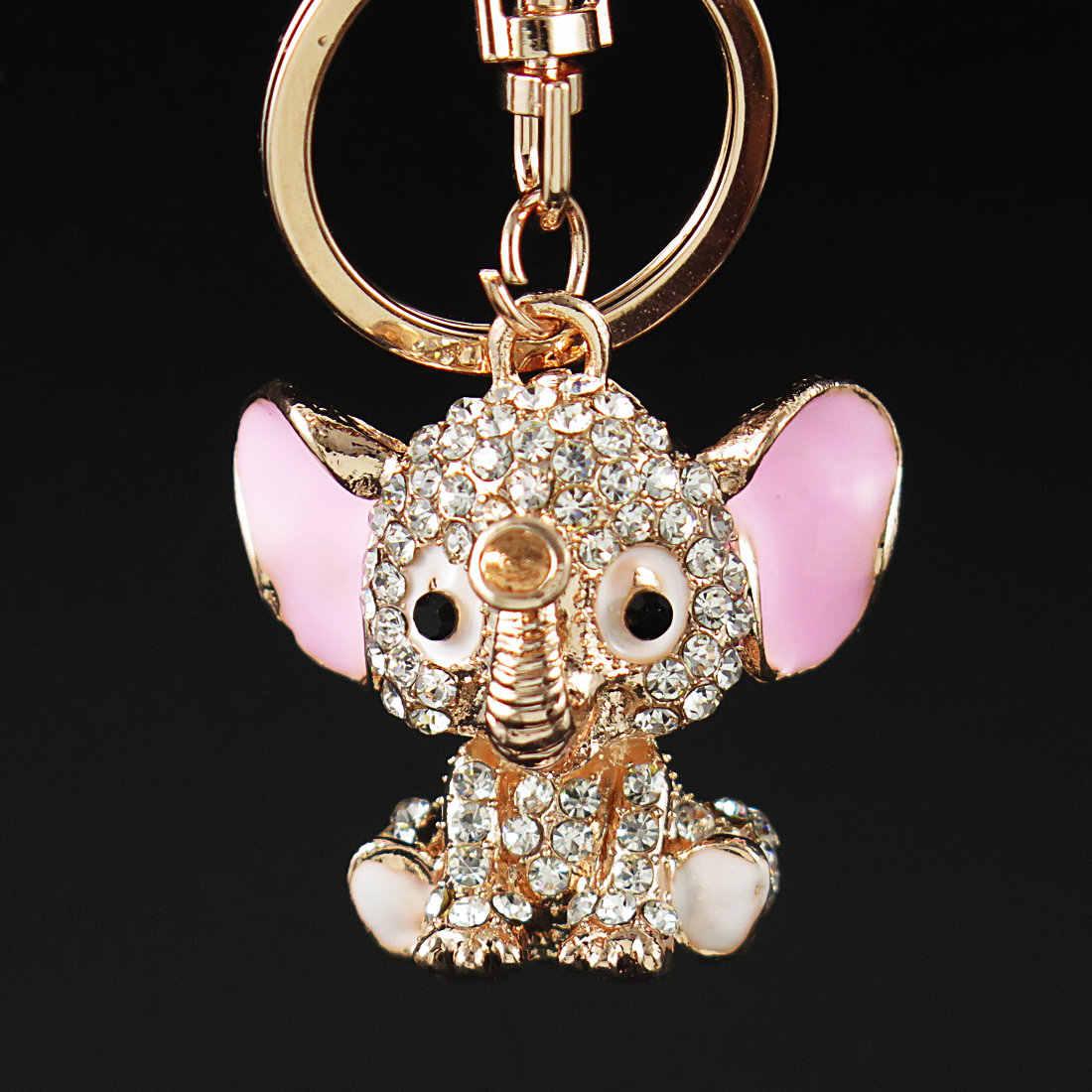 Брелок для ключей со стразами и слоником, сумка-кошелек с рисунком автомобиля, брелок с пряжкой и застежкой, подарки, розовый, белый корпус с кристаллами
