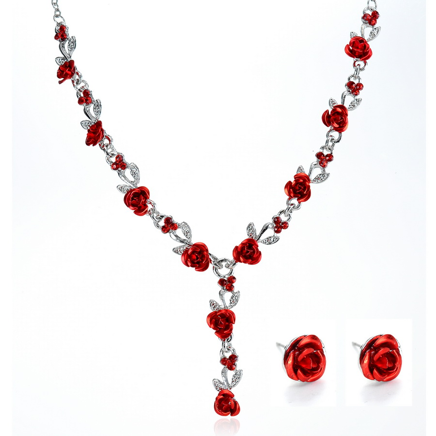 Vintage Beaded Necklace Red Earrings Necklace Red Necklace Roses Necklace Necklace and Earrings Set Red Rose Necklace and Earrings