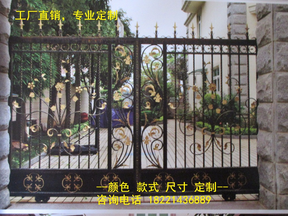 Custom Made Wrought Iron Gates Designs Whole Sale Wrought Iron Gates Metal Gates Steel Gates Hc-g73