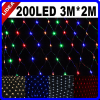 3M 2M 200 LED 9 Colors Wedding Holiday New Year Net Mesh Garland LED Christmas Decoration