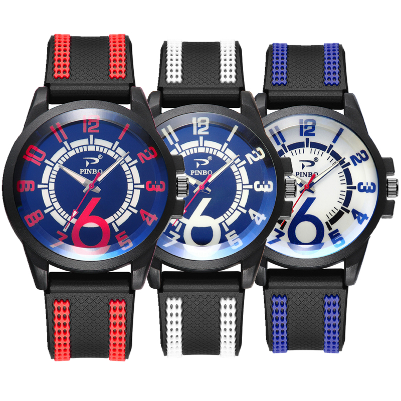 Fashion mens outdoor sport silicone soft rubber big number dial watch new inter color men male