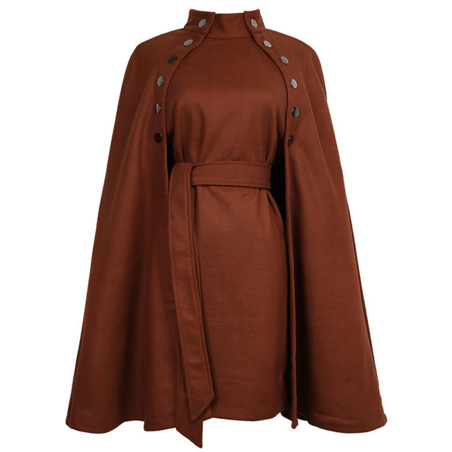Manteau Femmes Cape Manteau à double boutonnage col debout mélanges de laine manteau