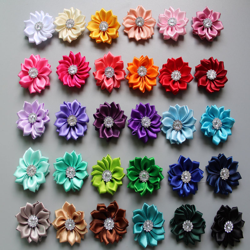 Wholesale DIY 1 5 39 39 Mini Polyester Ribbon Polygonal Flowers With Rhinestone kids Girls Hair Accessory Head flowers 120pcs in Hair Accessories from Mother amp Kids
