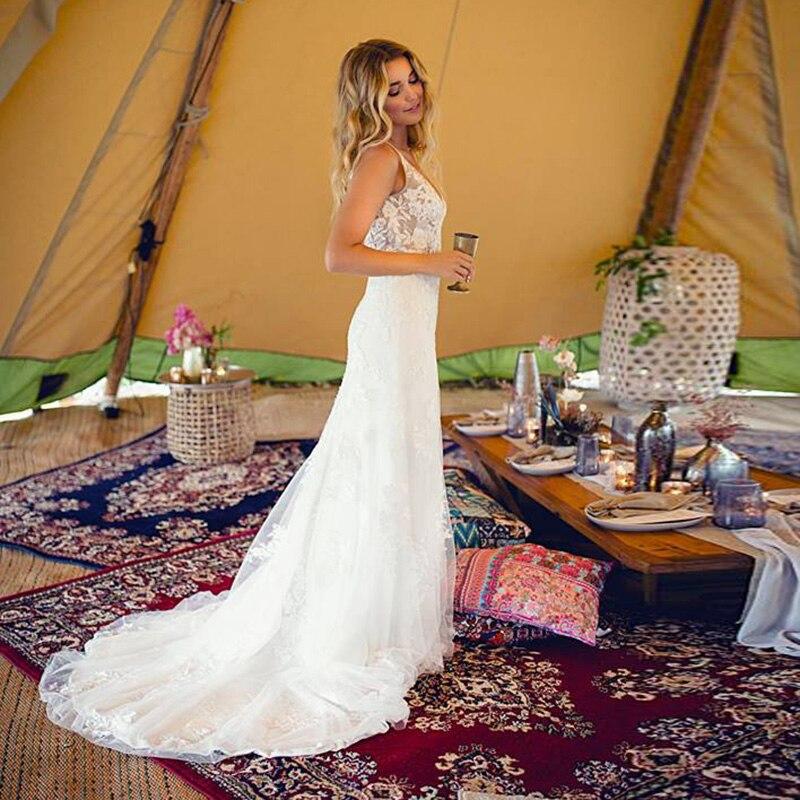 Robe de mariée bohème de quatre-vingts contes princesse col en v perles ligne a mousseline de soie manches courtes robes de mariée robe de mariée Vintage 2019 - 6