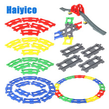 Track combination Big Building Blocks Bricks Train Rail Traffic Accessories Compatible with Duplo Set kid DIY Assemble Toys Gift цены