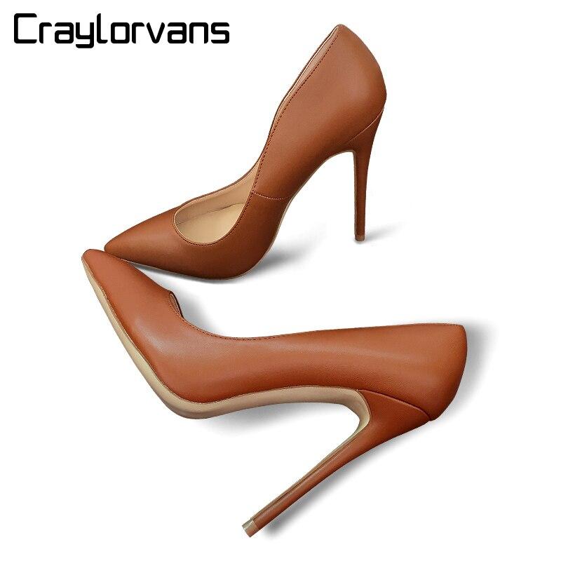 af0cded0a3 Craylorvans Top Qualidade Mulheres Sapatos De Salto Alto Saltos Finos  Sensuais Bombas Cor Marrom Sapatas Das Mulheres Do Partido Moda Chaussure  Femme ...