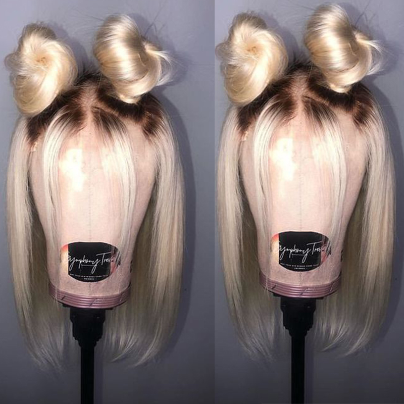 613 Lace Front Human Hair Wigs T1B 613 Brazilian Straight Honey Blonde Short Bob Wigs Omber Bob Lace Front Wig Cut Dolago Remy