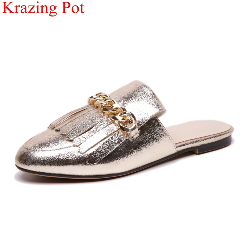 Krazing Pot 2019 fashion big size PU chain slingback fringe runway outside slippers low heels high