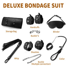 Sexy Lingerie PU Leather BDSM Sex Bondage Set Hand Cuffs Footcuff Whip Rope Blindfold Erotic Toys For Couples