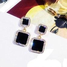 Statement Black Dangle Earrings Square Geometric Crystal Earrings For Women Elegant Jewelry New Style Earrings Rhinestone Luxury pair of noble retro style rhinestone embellished geometric shape earrings for women