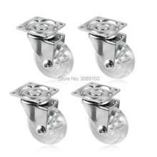 4 pcs 1.5 inch light duty PP caster wheel furniture caster Transparent PP casters chair caster wheel  цена
