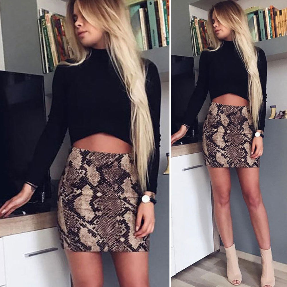 Skirt Party Stretch A-Line Leopard Bodycon High-Waist Fashion Women Clubwear Casual Hot-Sale title=