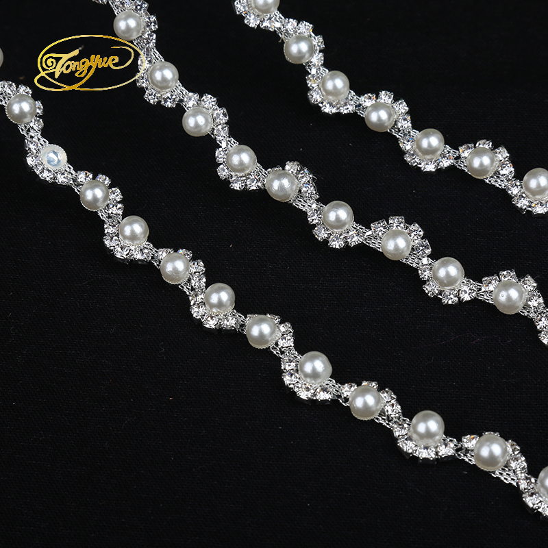1 Yd Aloi Rantaian Mutiara Asas Pakaian Perhiasan Ornamen Silver Trim - Seni, kraf dan jahitan - Foto 5