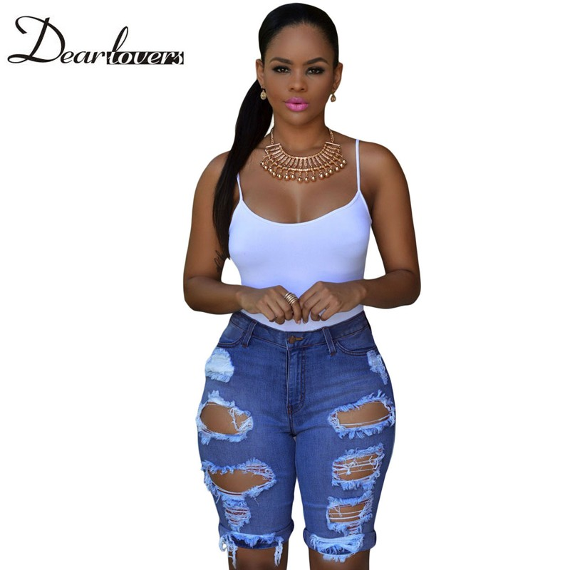Dear lover Blue White Destroyed Ripped Jeans for Women 2017 Knee Length Denim shorts Plus size pantalones vaqueros mujer LC78649 stylish denim ripped shorts for women