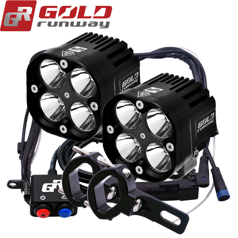 2 pcs 40 w Moto Phare 4200LM Moto U3 LED Moto Conduite Brouillard Spot Head Light avec pinces De Montage Câblage harnais