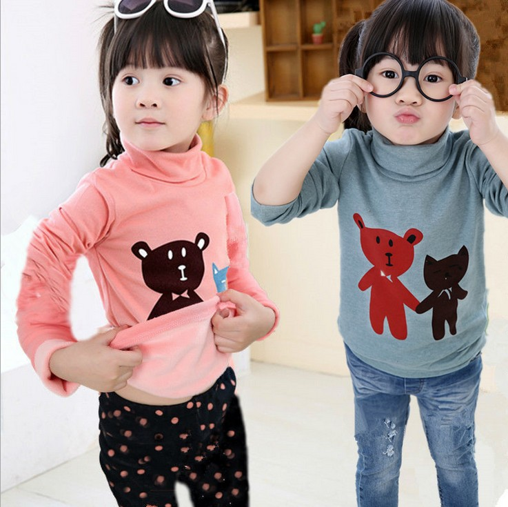 2015 boys girls sweatshirt T-shirt thickened children not inverted cashmere turtleneck hoodies kids Cubs