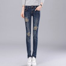 1305 Slim elastic jeans women Fashion jeans feminino Skinny Pencil pants font b Pantalon b
