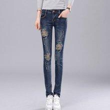 #1305 Delgado elástico Flaco Lápiz de los pantalones vaqueros mujer jeans de Moda feminino femme Pantalon Vaqueros mujer ripped jeans para mujeres