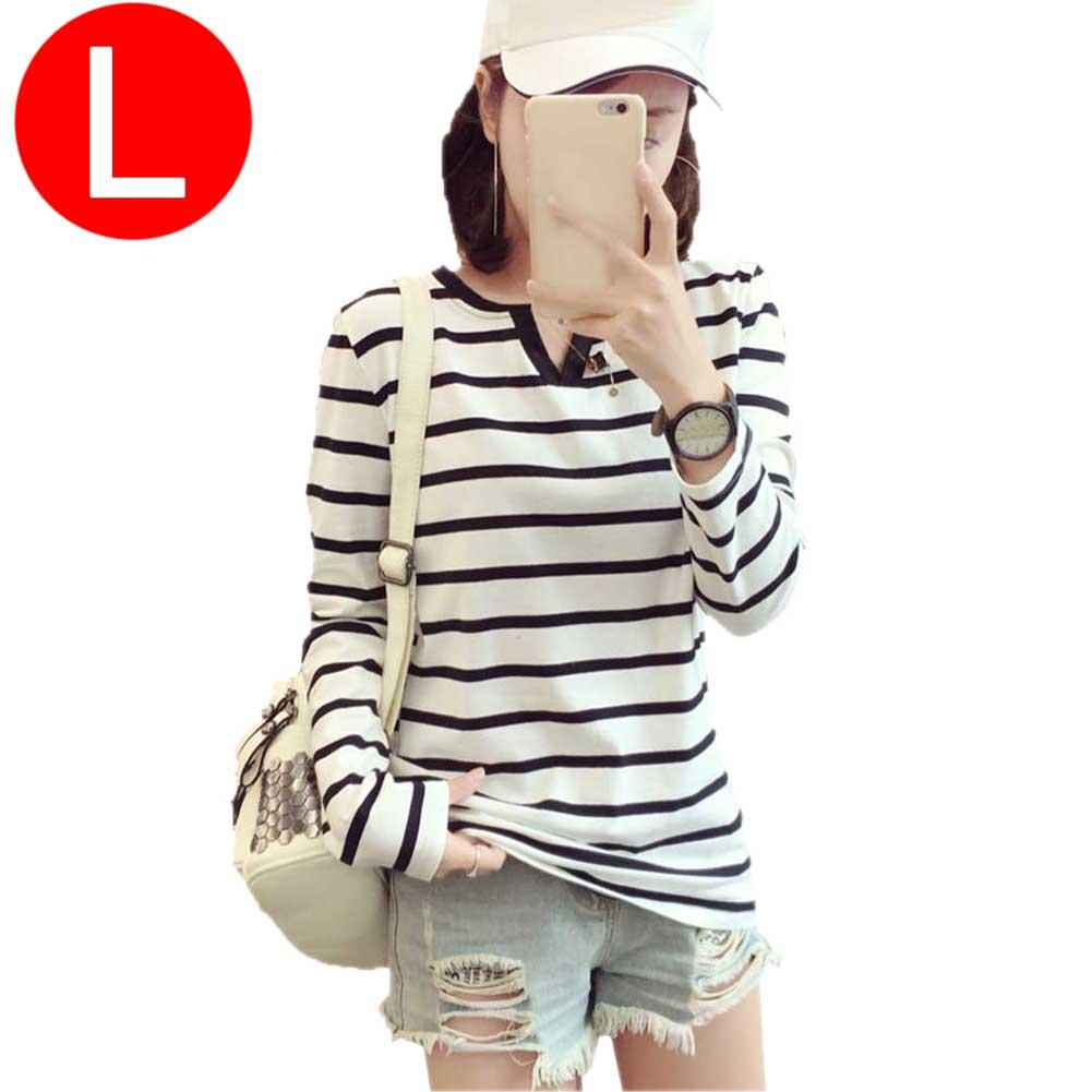 Leisure Student V-neck Black and White Striped Long Sleeve T-Shirt Slim Fit All-matched Top Shirt