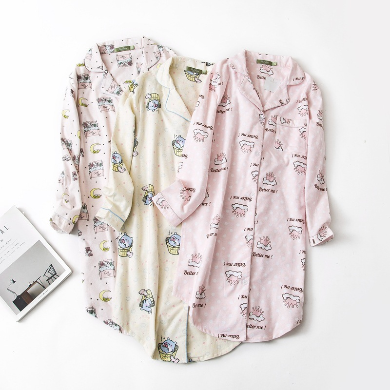 Women Sleepwear Long Sleeved 100% Cotton Nightdress 3 Colors Plus Size Flannel   Nightgown   Lady   Sleepshirts   Home Furnishing