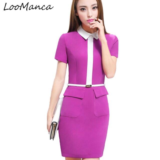 Profesional Oficina vestido púrpura negro mujeres elegante negocio ...