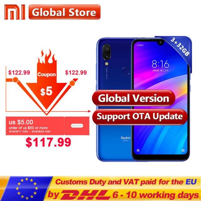 In Stock ! Global version Xiaomi Redmi 7 3GB 32GB Snapdragon 632 Smartphone Octa Core 4000mAh 6.26'' Phone 12+2MP Dual Camera