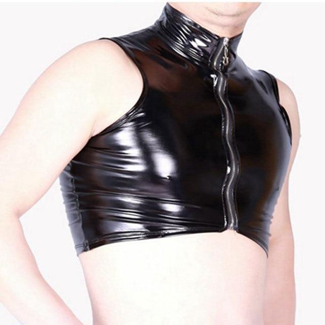 Sexy Men Turtleneck Plus Size Zipper Open Tank Top PVC Shiny Wet Look Punk Leather Short Top Art Photo Dance Club Gay Wear F45 2