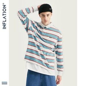 Image 2 - אינפלציה 2020 גברים פסים ארוך שרוול חולצת טי גברים רחוב ללבוש חולצה O צוואר מזדמן רופף סגנון חולצה סתיו למעלה Tees 91502W