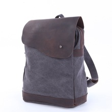 YISHEN Vintage Fashion Men Backpack Canvas With Crazy Horse Leather Male Travel Bags Personality Teenager School Bags MS12032