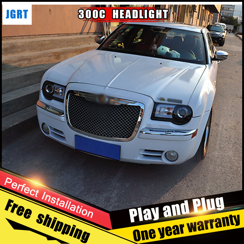 2PCS Car Style LED headlights for Chrysler 300C 05-12 for 300C head lamp LED DRL Lens Double Beam H7 HID Xenon bi xenon lens electric car motorcycle 15w led headlights modification lens light 12 60v