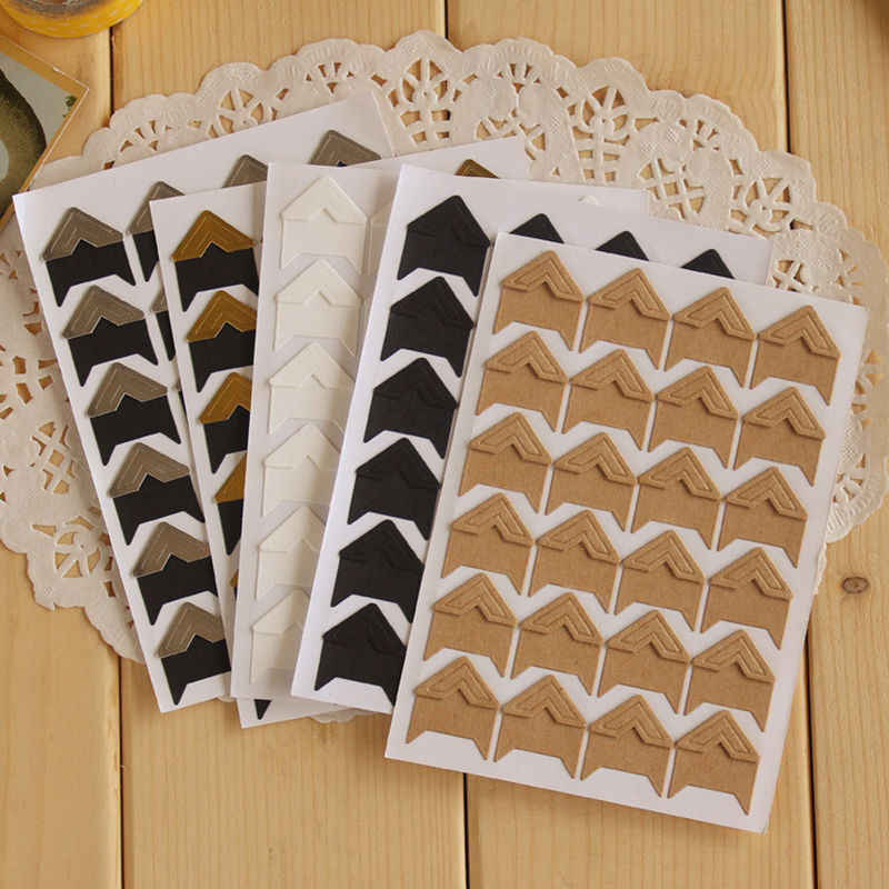 24 Pcs/lot DIY Vintage Corner kraft Paper Stickers for Photo Albums Frame Decoration Scrapbooking Free shipping