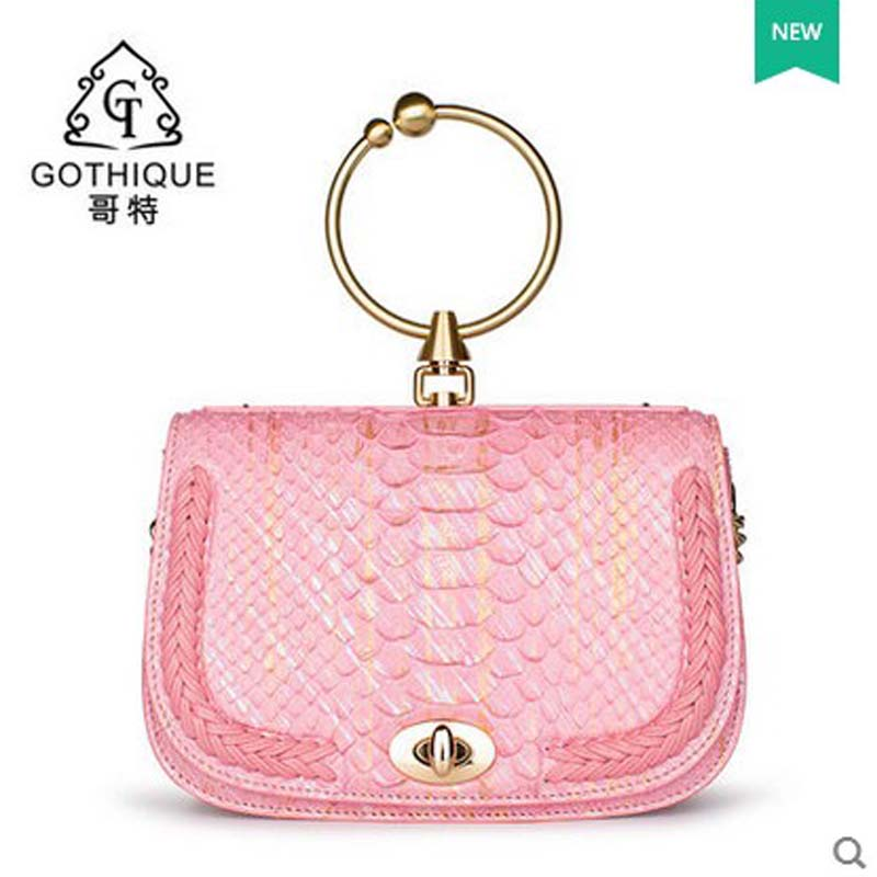 Gete new python leather women handbag metal ring lock snake skin women bag snake leather single shoulder women bag beijue boa leather single shoulder women handbag chain bag single shoulder bag black python skin