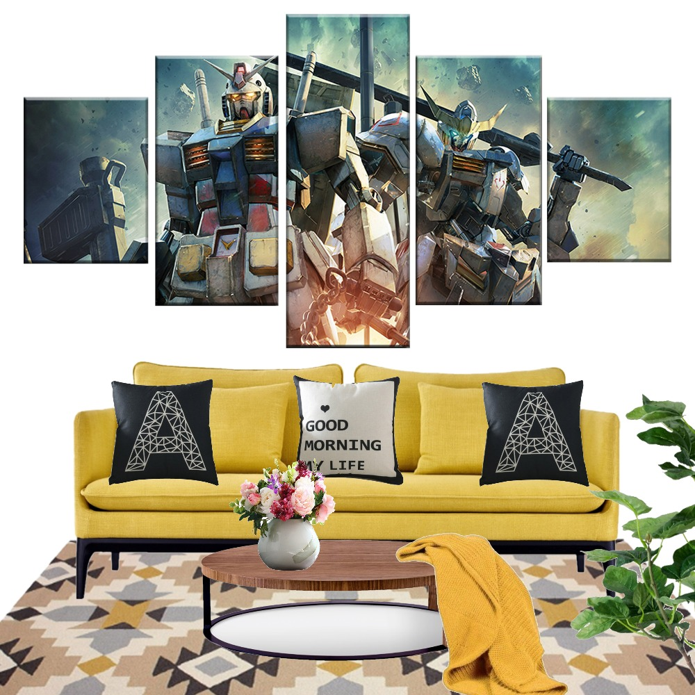 5 Piece Mobile Suit Gundam Science Fiction Animation Poster HD Wall Pictures Robot Cartoon Canvas Paintings for Decor