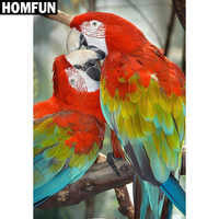 """HOMFUN Full Square/Round Drill 5D DIY Diamond Painting """"Animal parrot"""" Embroidery Cross Stitch 5D Home Decor Gift A06186"""