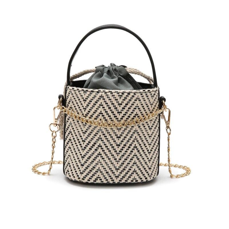 Retro National Style Bucket Woven Bag Round Straw Bags Womens Handmade Bohemia Beach Circle Bag Female Shoulder Bags with Chain black drawstring bucket woven beach bag