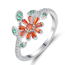 Simple Trend Green Leaf Flower Finger Ring Silver Creative Cubic Zirconia Knuckle Rings for Women Party Jewelry Gifts rhinestoned flower leaf finger ring