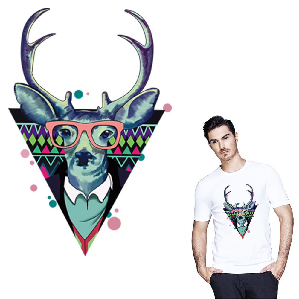 Cool Deer horn iron patches washable heat transfer clothes stickers for DIY T-Shirt bags Decoration appliqued  by household