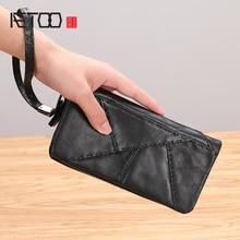купить AETOO Handbag men's leather handmade long wallet zipper men's cowhide mobile phone bag casual hand bag по цене 1748.9 рублей