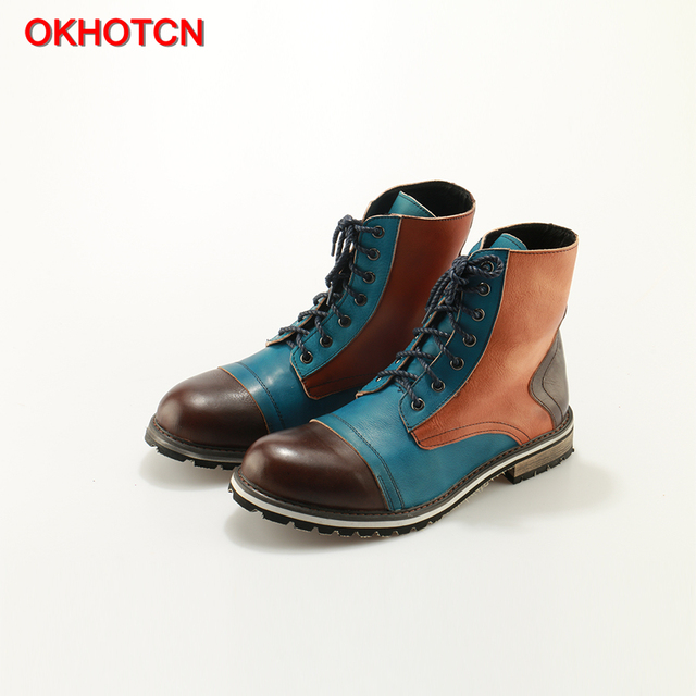 OKHOTCN Casual Men Boots Mixed Colors British Martin Boots handmade bespoke leather Lace-up Men's Cow Ankle Boots Vintage shoese