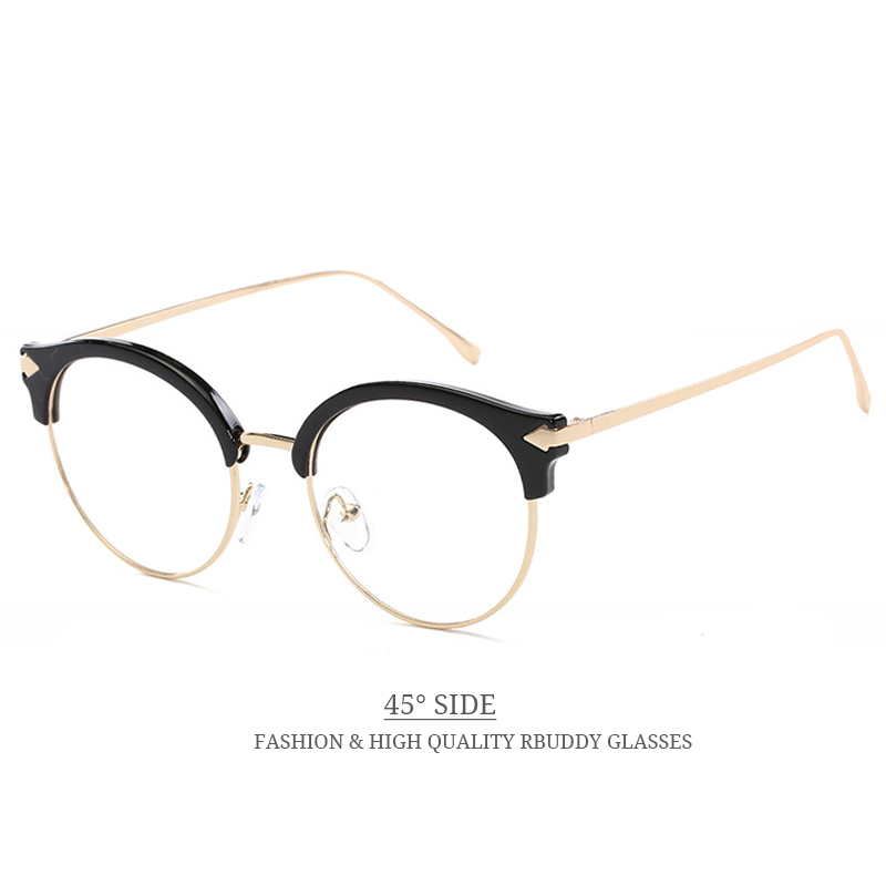 b04698371f RBUDDY Transparent glasses Metal Round Reading computer clear lens glasses  Women Men Gold Frame Clear glasses Opctical Eyewear -in Eyewear Frames from  ...