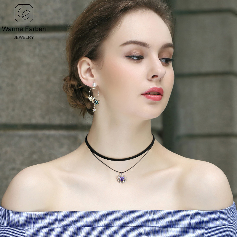 Detail Feedback Questions about WARME FARBEN Women Necklace Baroque Black  Double Rope Chain Choker Necklace Crystal From Swarovski Torques Clavicle  Collares ... d1c0ce5b41d1
