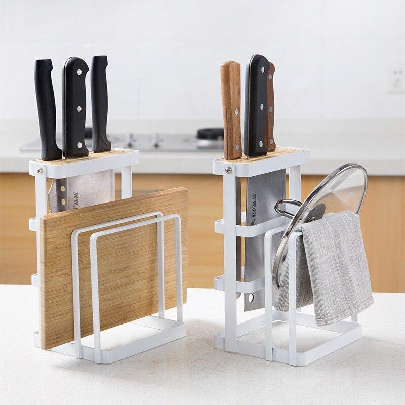 Supports de couverture de pot de fer supports de panneau support de stockage de cuisine mettre le support de couvercle étagères de porte-couteau cadre