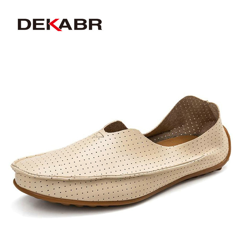 DEKABR Hollow Out Breathable New 2018 Summer Split Leather High Quality Fashion Casual Shoes Men Lovers Couple Flat Loafer Shoes
