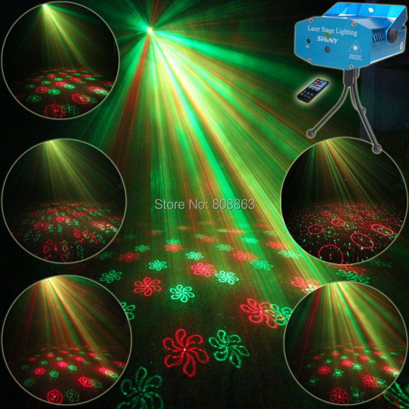 New Mini Red Green Remote 20 Patterns Laser Projector Club Bar Coffee Shop Dance Disco Party Xmas DJ Effect Light + Tripod R20 new mini red blue line pattern gobo remote laser projector dj club light dance bar party xmas disco effect stage lights show b55