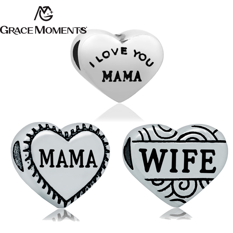5Pcs/Lot GRACE MOMENTS Stainless Steel Heart MAMA WIFE I LOVE YOU MAMA Big Hole Spacer Beads For Bracelet Jewelry DIY Making