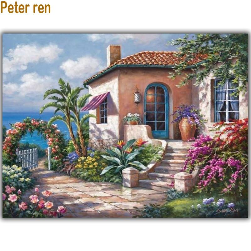 Marina villa Full Diamond krajina vyšívání Diy Diamond malířský dům 3D Diamond mozaika náměstí ikona Vložit celý obrázek
