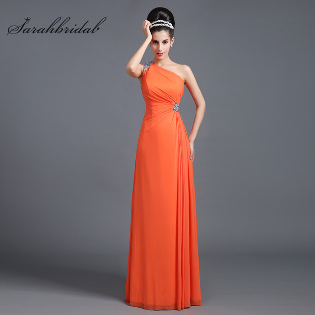 Simple Sexy Long Bridesmaid Dresses Chiffon Backless One Shoulder Beaded Prom  Gowns A Line Floor Length In Stock Hot Sale SD268 22c33db3d320