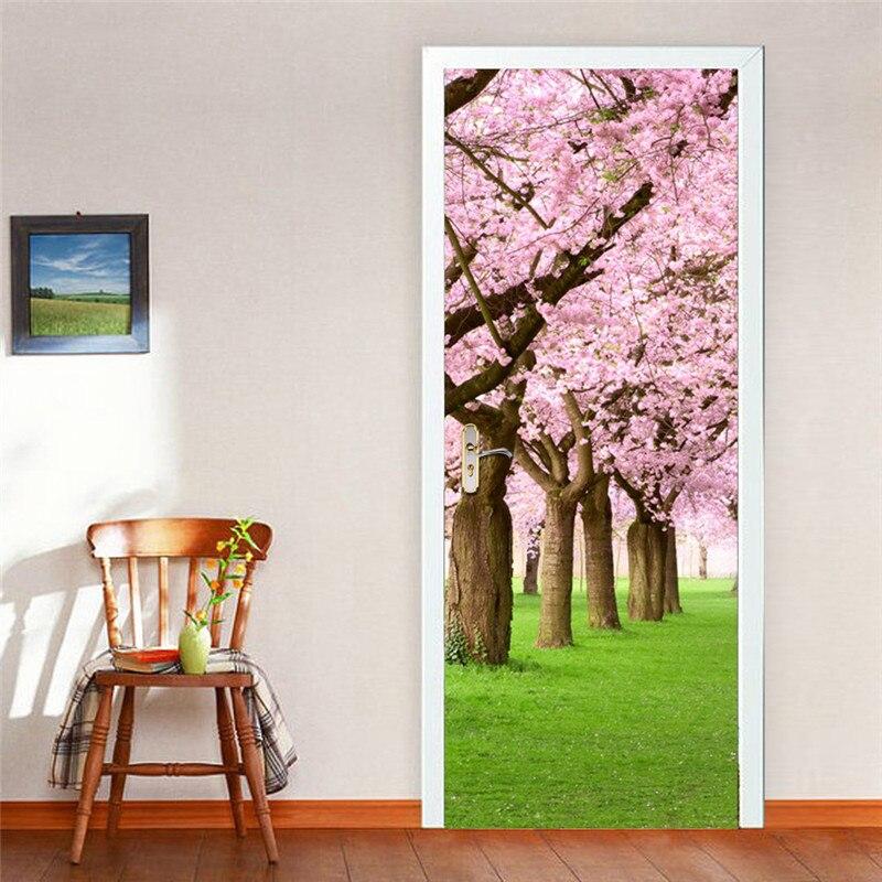 """Image 3 - Вишневый цветок водопад бульвар дверь настенная наклейки на обои виниловые Съемные наклейки для домашние украшения для комнаты 30,3x78,7""""-in Настенные наклейки from Дом и животные"""